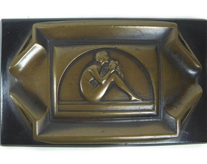 Rare circa 1920's Karldenberg & Son of New York Art Deco Bronze Ashtray