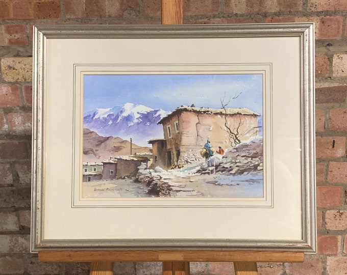 Beautiful Original Watercolour Titled 'A Village in the Atlas Mountains' By Denis Pannett