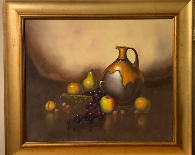 Vintage Original Still Life Oil On Board Painting Of Fruit & Wine Jug Signed Boyd