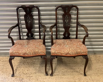Beautiful Pair Of Early 1900's Mahogany Armchairs With Lovely Floral Upholstery