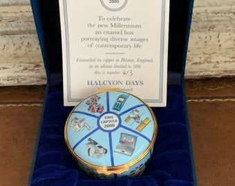 Large Limited Edition 413/500 Halcyon Days Enamels Millenium Time Capsule 2000 Trinket Box