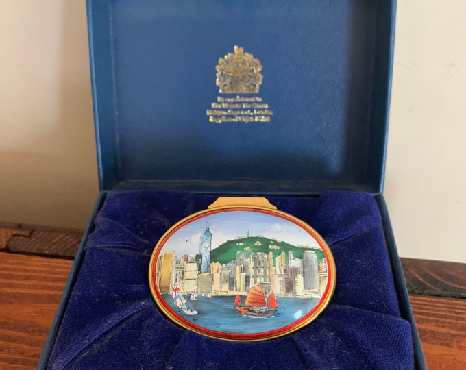 Beautiful Rare Limited Edition 76 Of 220 Halcyon Days Hong Kong Harbour Trinket Box