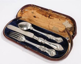 Beautiful Cased Henry Wilkinson & Son Hallmarked Silver for 1859, Christening Set