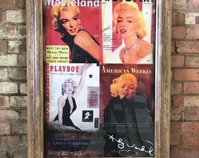Very Large Pietro Psaier 'Marilyn Monroe' Mixed Media on Linen c1960's Signed Andy Warhol