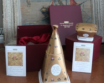 Two Rare Bilston Battersea Historical Royal Palaces Queen's Golden Jubilee Candle Holder and Trinket Box  from the Cloth of Gold Collection