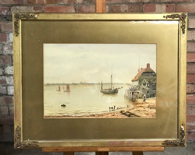 Original 19th Century Watercolour By L Poult Dated 1881 Habour Scene