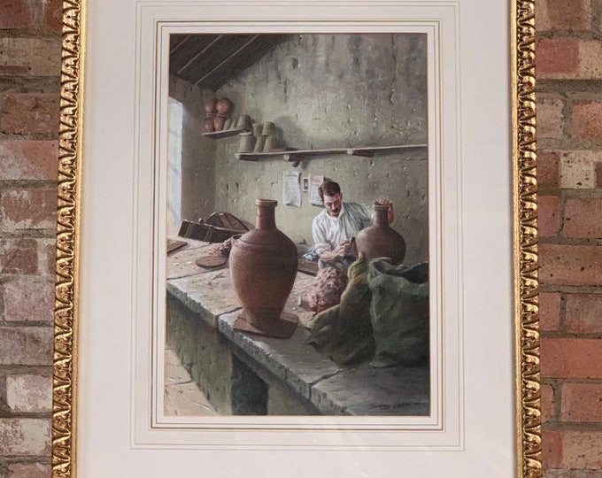 Wonderful Watercolour by the Amazing World Renown Artist John Seerey-Lester of a Man in his Workshop Making Pots - Signed Lower Right