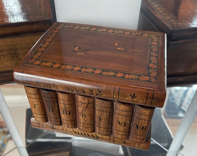 Beautiful Vintage Italian Sorrento Puzzle Book Box Decorated With Swallows to lid