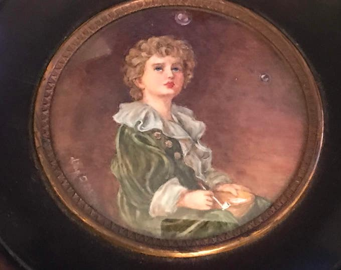 Antique Hand Painted Watercolour Miniature Of the Famous Pears Advertisement Titled 'Bubbles' Signed d'ap.  J Millais (after Millais)