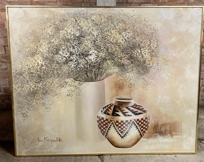 Very Large Beautiful Original Still Life Oil Painting By The Artist Lee Reynolds