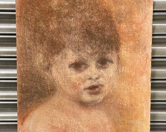 Wonderful Large Vintage Child Portrait In Pastel On Board Circa 1930's