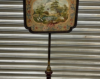 Antique Victorian Mahogany Fire Screen adjustable with an Embroidered Picture.