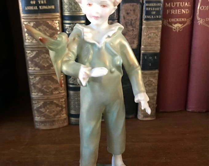 Beautiful Royal Worcester Boy & Parakeet Figurine in Green and Gold Lustre