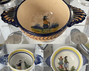 Three Henriot Quimper French Faience Antique Ceramic Bowls.