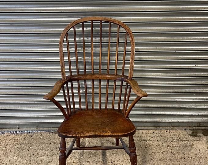 Handsome Antique Stick Back Elm Seated Windsor Chair