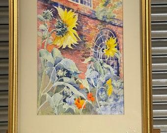 Beautiful Original Watercolour Titled Sunflowers At Flatford Mill By Jan Pursey.