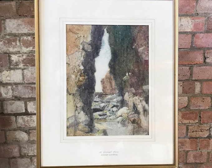 An Early 20th Century Oswald Garside R.I Watercolour Titled A Cornish Cove
