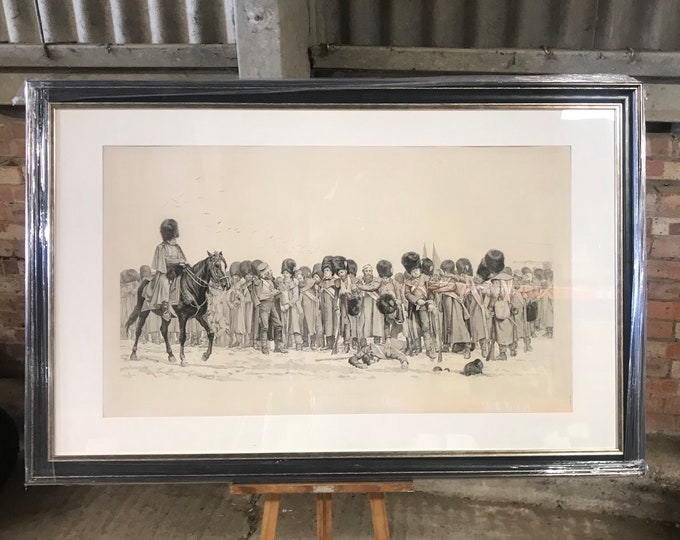 Rare 19th Century Framed and Glazed Lithograph in Progress of 'The Roll Call' by Lady Elizabeth Butler