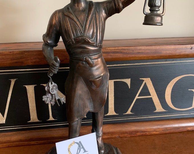 Lovely Vintage Hand Made Copper Figurine Of A Man Carrying Keys in One Hand and a Lantern possibly a Cobbler