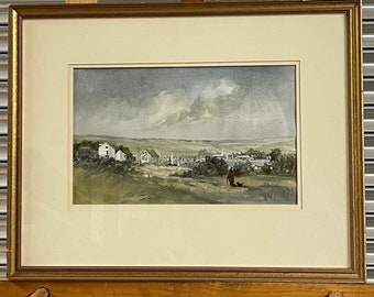 Original Watercolour View Of Brading Harbour Yacht Club Ryde Isle Of Wight.