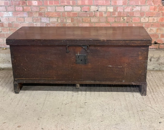 Very Large Handsome circa 17th Century (possibly earlier) Six Plank Fruitwood Coffer With Candle Box - Probably French