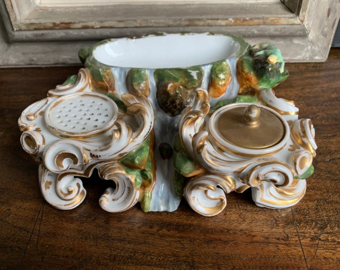 Beautiful Rare Late 18th/early 19th Century French Porcelain Encrier Inkwell