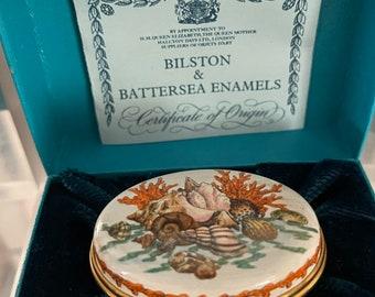 Rare Halcyon Days Bilston & Battersea Shell And Coral Trinket Box