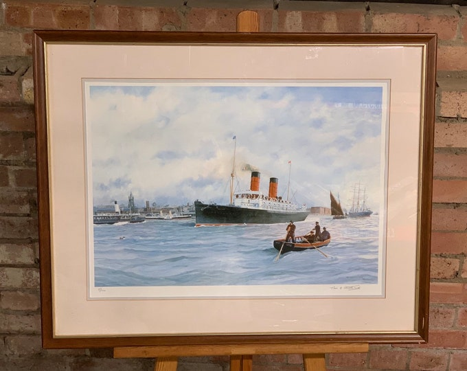 Framed & Glazed Limited Edition 5/100 Print Of The Campania Of Liverpool a Steam Ship, Signed by the Marine Artist Thomas Shuttleworth, 1991
