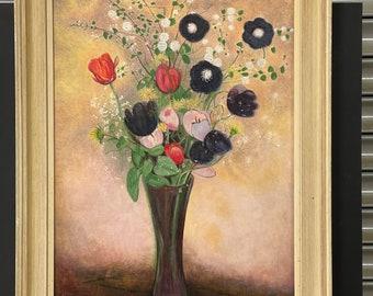 Vintage Original Still Life Of Flower, Odilon Redon - C H Sanders