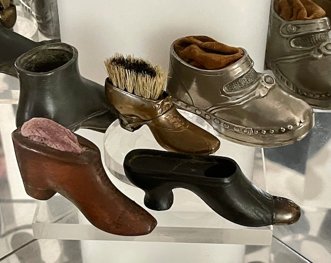 Selection Of Rare Novelty Shoe Pin Cushions And Vesta Case/ Holder