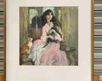 Wonderful Original Watercolour of a Young Lady Who is Seated with her Beloved Cats - Monogramed Lower Left F M