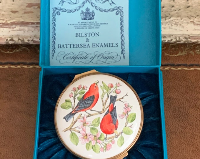 Beautiful Large Bilston And Battersea Halcyon Days Hand Painted Trinket Box - Hand Painted Bird and Foilage Design
