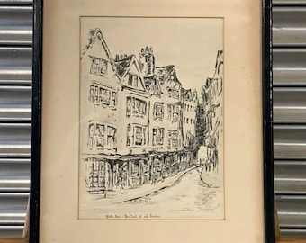 19th Century Etching 'Cloth Fair, The Last Of Old London' Signed P Nichols