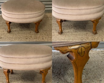 Beautiful Large Antique Mahogany Oval Bedroom Stool Upholstered In Cream Fabric