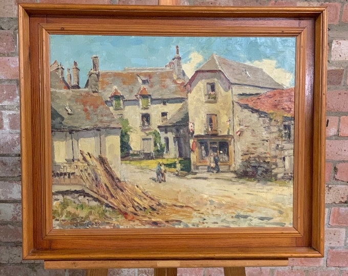 Fabulous Antique Oil Painting Of A Continental Village Scene By Georg Cross.