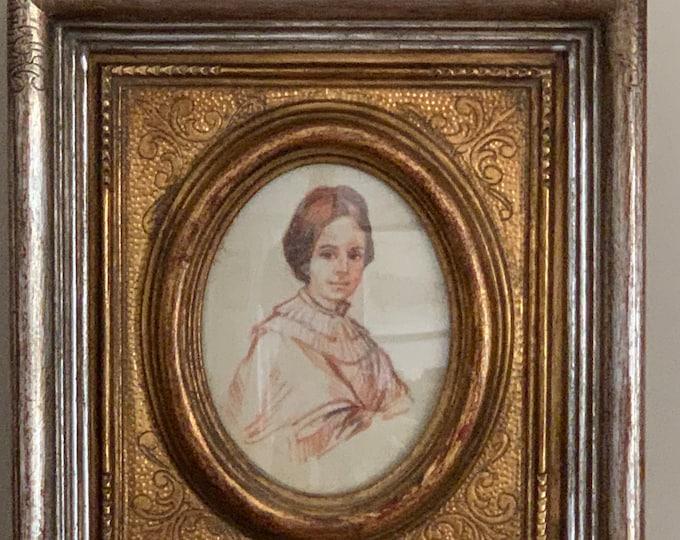Antique Oval Miniature Watercolour Portrait Of A Lady
