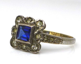 Vintage Art Deco Style Sapphire Diamond Paste 9ct Gold & Silver Ring