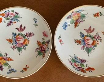 Fabulous Pair Of 19th Century Derby Porcelain Hand Decorated Plates -  Circa 1820