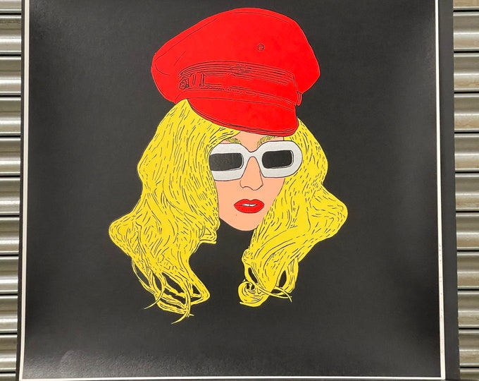 Superb Limited Edition Of 25 Silkscreen Print Of Lady Gaga By Si Gross 2011