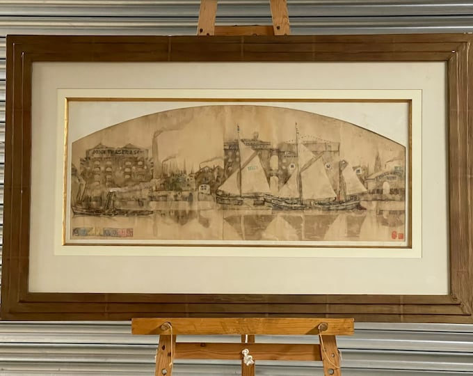 Fabulous Huge Watercolour By Stephen Goddard 'East India Docks' Rotherhithe