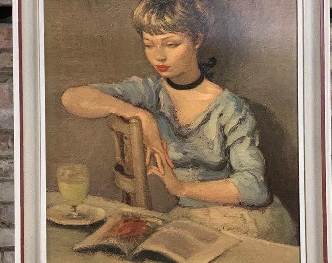 Vintage Retro Oleograph Portrait Study Titled 'Claudine' After Marcel Dyf (1899-1985)