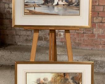 Wonderful Pair Of Original Watercolours By G Marler Fishing & Country Scenes
