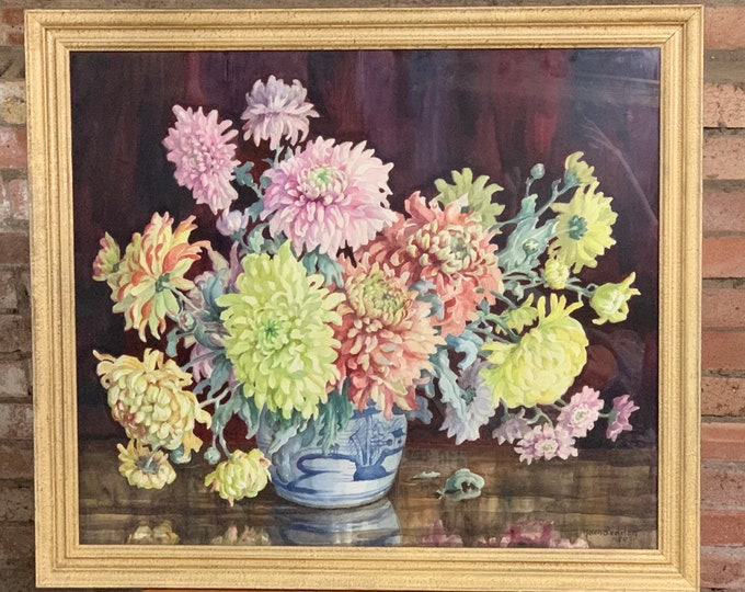 Fabulous Original Still Life Watercolour Of Flowers By The Cornish Artist Helen Seddon