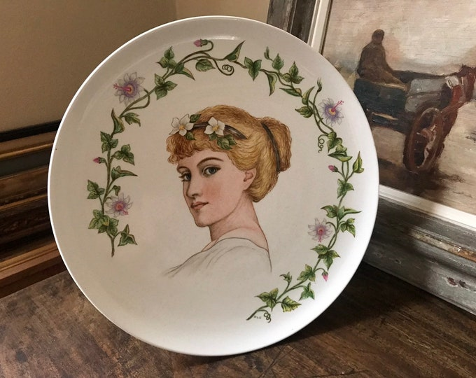 Beautiful Art Nouveau c1880's Handpainted Ceramic Plate Depicting Lady With Flowers in her hair and Floral Decoration