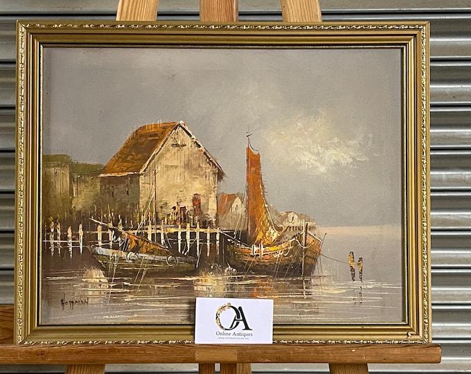 Wonderful Original Vintage Oil Painting Of A Harbour Scene Signed Hoffman