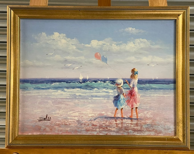 Beautiful Original Oil Painting Of Two Young Girls Flying Balloons Signed Salis