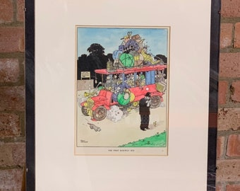 Hand Coloured W Heath Robinson Cartoon Engraving - Titled 'The First Railway Bus' dated 1935 in pencil lower right
