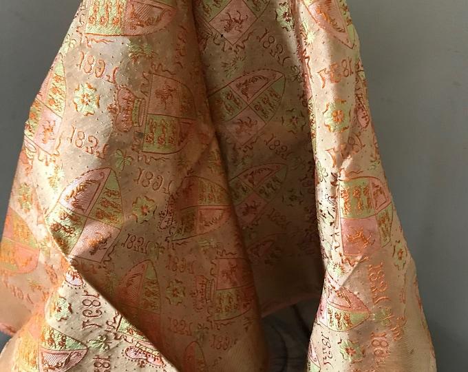 Rare 19th Century Victorian Commemorative Hand Embroidered Silk Handkerchief