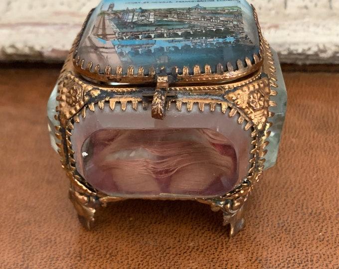 Rare Edwardian Franco - British Exibition 1908 Jewellery Trinket Box.