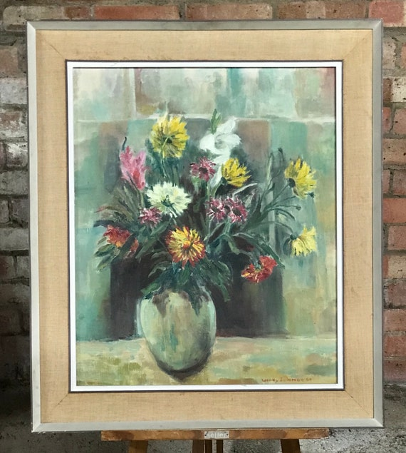 Large Original Oil On Canvas Still Life Of Flowers Signed By the Artist Wendy Solomon and dated, 1964